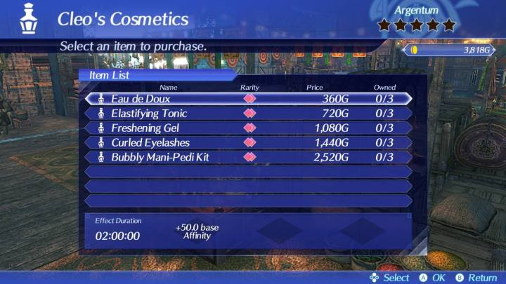 Cleo's cosmetics menu in xenoblade chronicles 2
